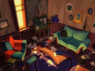 Dr Jekyll's office story chemistry shadow light sofa cartoon office animation background enviroment digital art illustration