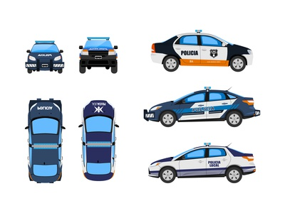 Police cars - Vector illustrations