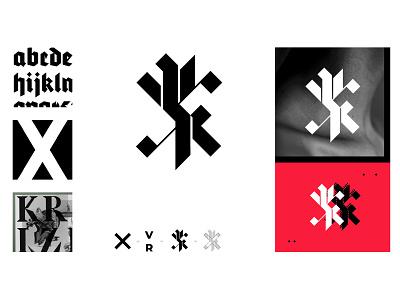 VR logo proposal tatoo modern cross gothic design logo typography flat identity branding