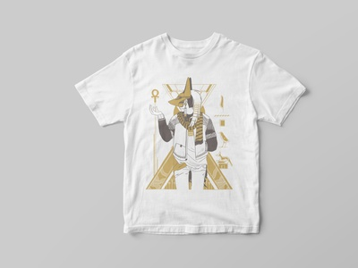 Anubis t-shirt fashion poster digital art illustration gold pyramid hieroglyph tshirt death god egypt anubis