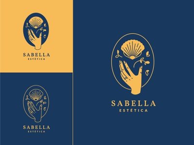 Sabella logo tatoo woman gold shop beauty shell sea hand blue simple illustration design logo vector icon flat identity branding