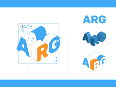 Made in Argentina box reddit avatar forum arg round made construction blueprint industry argentina typography isometric vector icon logo branding