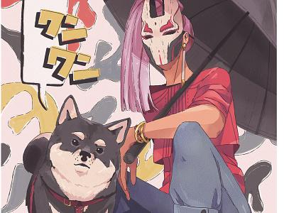 Bad shiba detail comic colorful japanese asia mask japan dog shiba inu poster digital art illustration
