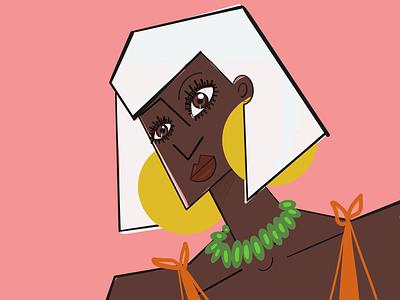 Two suns white hair big earrings illustration procreate coral yellow sun woman black woman
