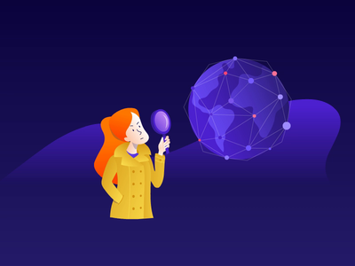 Avast illustration connection web search animation globe world magnifying glass security privacy detective illustration avast
