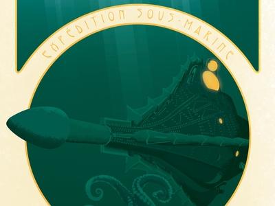 20 000 Leagues Under The Sea Art Nouveau Poster