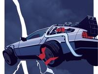 Back To The Future Ii Delorean Illustration