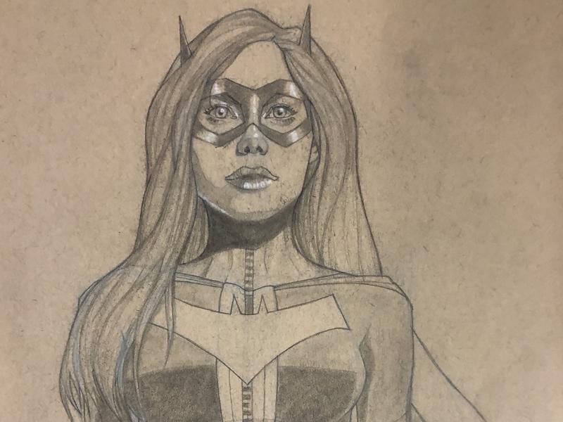 Batgirl Sketch dc comics batman mixed media sketchbook drawing comic book art comic art sketch pencil art illustration
