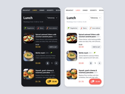 Page for ordering in a restaurant using chatbot. light theme dark theme price card select restaurant food chatbots tags webview