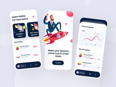Reminder The Annual Target cards chart apps colorful card playful 3d design 3d application illustration design user interface ux ui