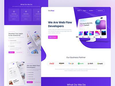 WebFlow Developers application vector illustration interface design magenta violet dekstop mockup user interface ui ux header web banner website