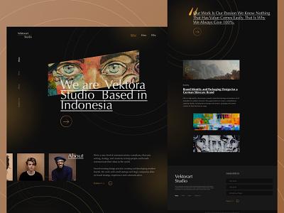 Vektoart Studio Landing Page illustration web design layout banner creative studio art black vintage dark web ux landing page ui