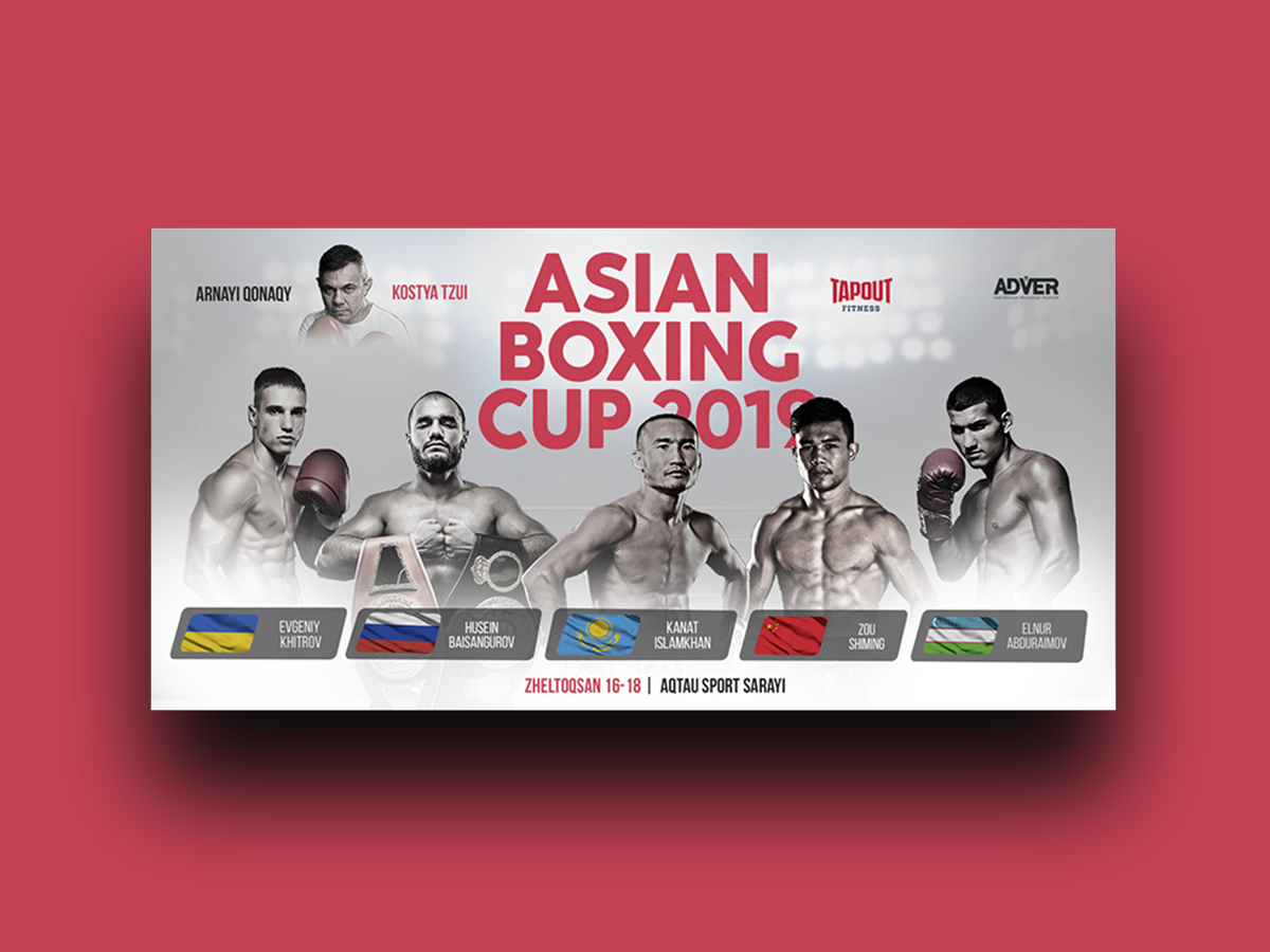 Asian Boxing Cup athlete street coral red tournament sports design sport boxing best design banner ads