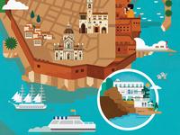 Dubrovnik Map Illustration