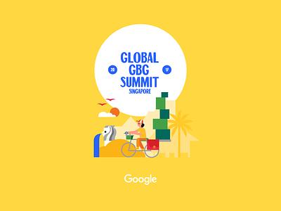 Global GBG Summit Singapore 2017 yellow kampung graphics vector illustration retro merlion singapore