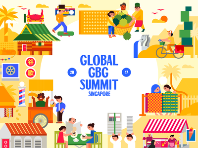 Global GBG Summit Singapore 2017 yellow vector singapore retro merlion kampung illustration graphics