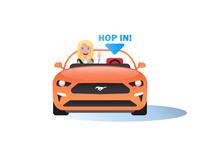 """Mustang """"Hop In!"""" Illustration"""