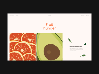 Fruit Hunger Shop nature passion fruit watermelon pitaya kiwi papaya limon avocado apple banana orange juice hunger concept web website online store online shop design ui