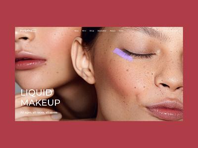 Liquid Makeup beautiful beauty cosmetic website web online store online shop concept design motion graphics animation