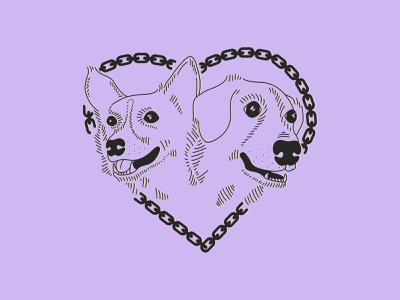 Best Buds vector illustrator heart dog illustration