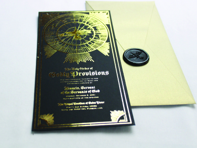 The Holy Order of Godly Provisions- Invitation black paper wax seal gold foil invitation set invitations invite packaging illustration branding logo typography design