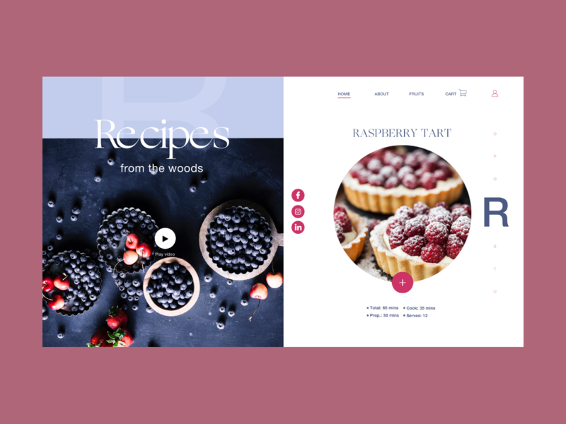 Debut - Recipes from the woods 1 landing ux iu shop webshop ogg helvetica neue tipography colors raspberry interaction design ingredients fruits recipes web design