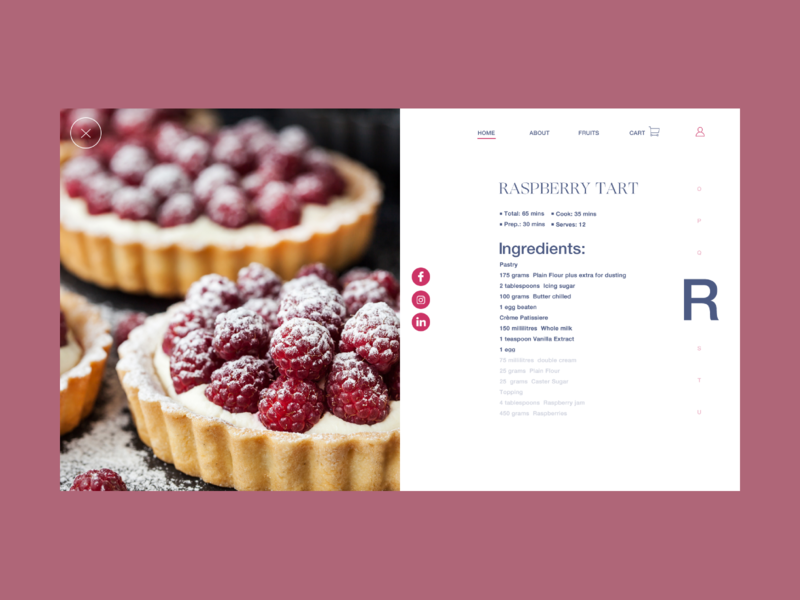 Recipes from the woods 2 webdesign landing ux ui shop webshop ogg helvetica neue tipography colors ingredients raspberry interaction design fruits recipes