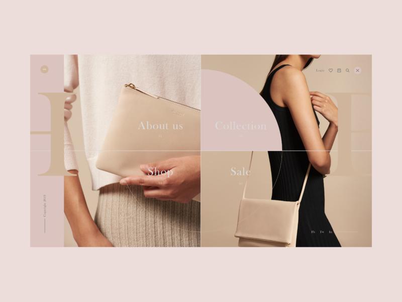 Shop - Menu fashion ecommerce website web design landing typography flat interaction design ux ui