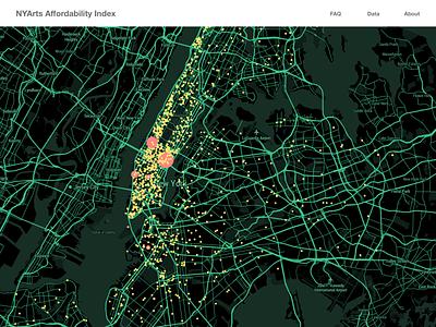 Daily UI : 020 location tracker location arts institution arts nyc data visualization dataviz mapbox map