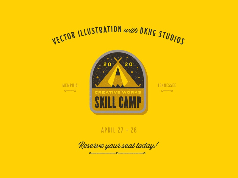 Creative Wrks Skill Camp 2020 pencil tent camping skill camp camp badge logo badge patch icon geometric dkng studios vector dkng nathan goldman dan kuhlken