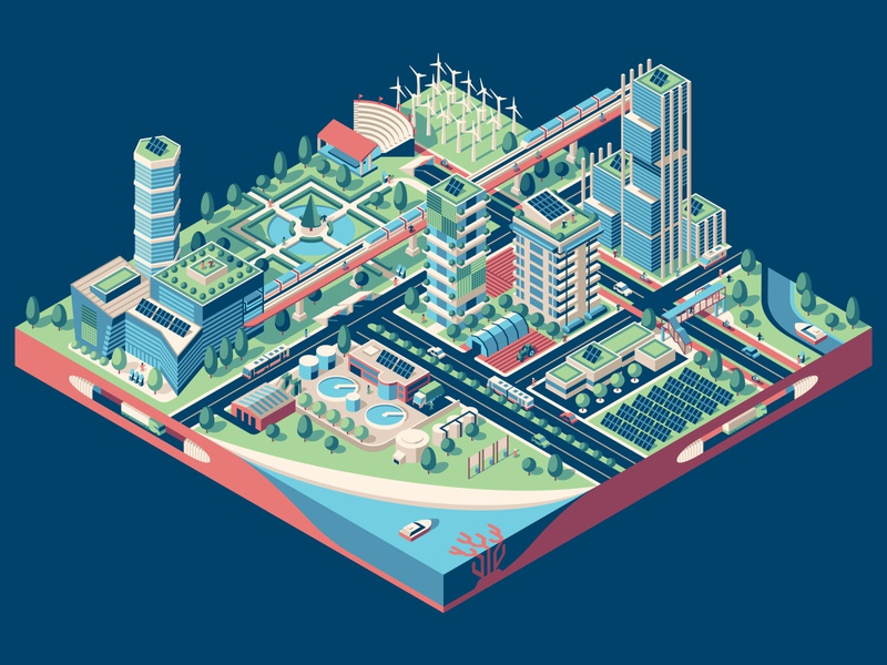 United Nations Sustainable City Illustration united nations city isometric illustration dkng studios vector dkng nathan goldman dan kuhlken
