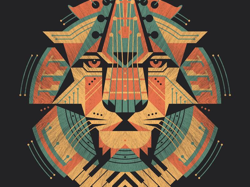 Leo Art Print dkng vector lion leo instruments bass guitar piano violin drums trumpet saxophone poster print dan kuhlken nathan goldman