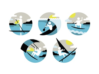 Mystery Project 34 dkng vector icon circle summer windsurfing wakeboarding paddleboarding kayaking kitesurfing sports water ocean dan kuhlken nathan goldman