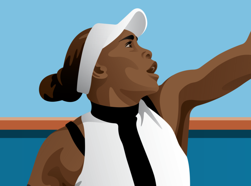 Mystery Project 98 portrait tennis venus williams illustration dkng studios vector dkng nathan goldman dan kuhlken