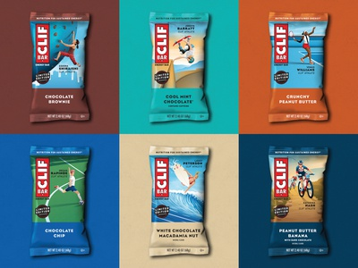 CLIF Bar Women Athlete Packaging clif bar women empowerment soccor surfing skateboarding mountain biking rock climbing tennis surf sport athlete people women illustration dkng studios vector dkng nathan goldman dan kuhlken