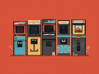 Arcade vector dkng arcade galaga pacman astroids poster print screenprint soda popcorn dan kuhlken nathan goldman donkey kong dig dug