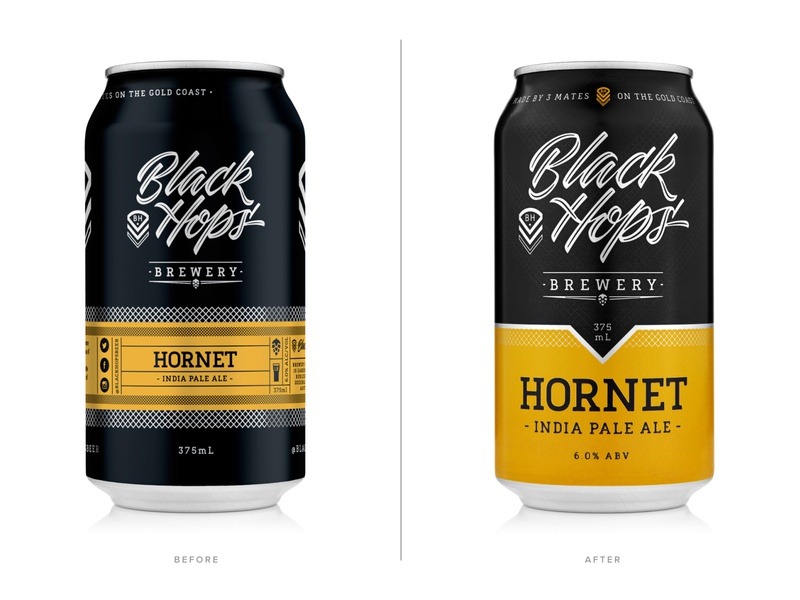 Black Hops Brewery (Before & After) beer can design black hops beer packaging packaging beer can beer branding design dkng studios dkng nathan goldman dan kuhlken