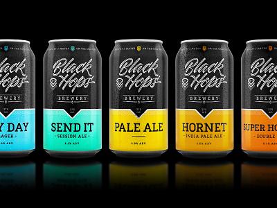 Black Hops Brewery Packaging can beer can design beer can brewery black hops beer packaging beer packaging dkng studios dkng nathan goldman dan kuhlken