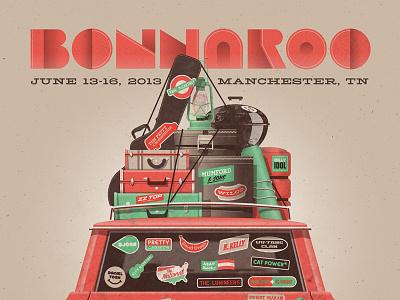 Bonnaroo 2013 Poster vector dkng instruments bonnaroo stickers bumper car luggage camping dan kuhlken nathan goldman road trip