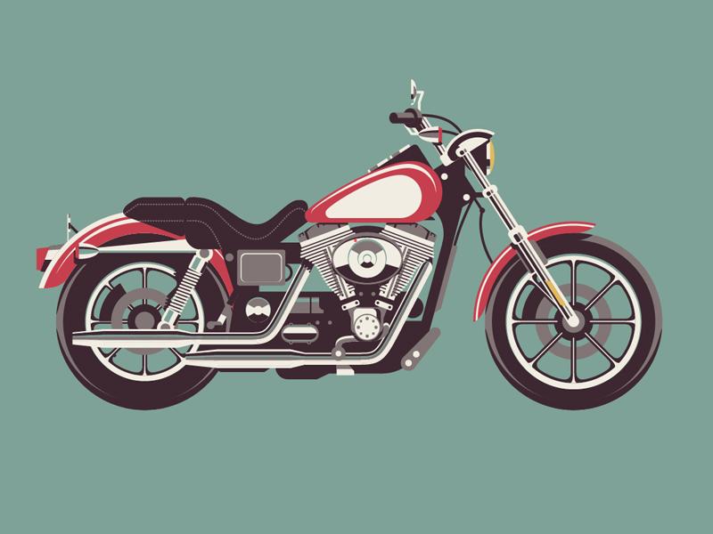 Mystery Project 40 dkng vector motorcycle harley davidson hog chrome poster screenprint dan kuhlken nathan goldman