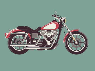 Mystery Project 40 dkng vector motorcycle harley davidson hog chrome poster screenprint dan kuhlken nathan goldman