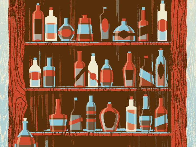 Mystery Project 41 dkng vector bottle bar alcohol tree grain texture poster screenprint dan kuhlken nathan goldman
