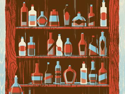 Mystery Project 41 dkng vector bottle bar alcohol tree grain texture poster screenprint dan kuhlken nathan goldman