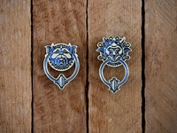 Labyrinth: Left Door Knocker Pins metal door knocker labyrinth brooch pin enamel pin dkng studios vector dkng nathan goldman dan kuhlken