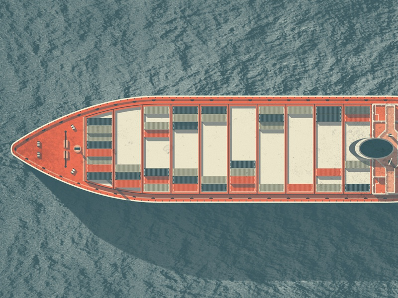 Mystery Project 45 dkng vector texture boat cargo sea water orange blue dan kuhlken nathan goldman cargo ship