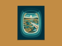 Window Seat Series mainland city beach island farm farmland window seat airplane window airplane texture illustration silkscreen screen print geometric poster dkng studios vector dkng nathan goldman dan kuhlken