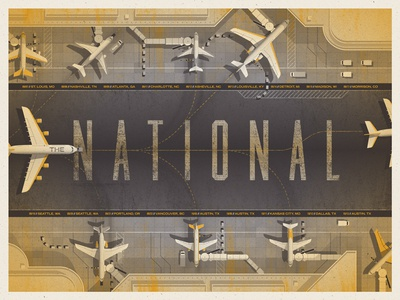'The National' North American Tour Poster dkng national airplane airport texture poster screenprint dan kuhlken nathan goldman