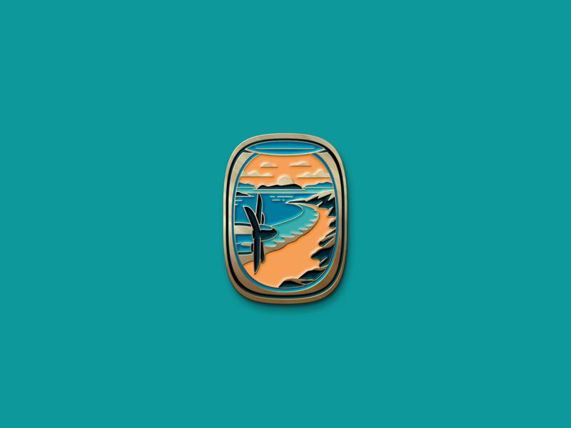 """Island"" Print and Pin tropical island beach propeller airplane window window airplane texture silkscreen screen print geometric poster dkng studios vector dkng nathan goldman dan kuhlken"