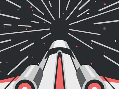Media Temple Illustration 1 dkng vector space spaceship warp stars dan kuhlken nathan goldman warp speed