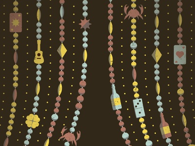 Mystery Project 47 dkng vector beads guitar crab card bottle domino dan kuhlken nathan goldman beaded curtain new orleans